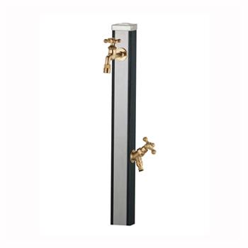 立水栓 スプレスタンド ウッドブラック (蛇口2個セット)