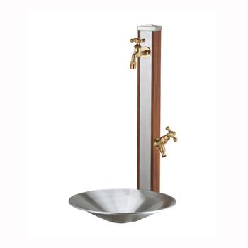 立水栓セット スプレスタンド ウッドブラウン(ポット+蛇口2個付属)