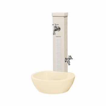 立水栓セット ファミエンテスタンド2口 スノーホワイト(パン ビーンズ+蛇口2個付属)